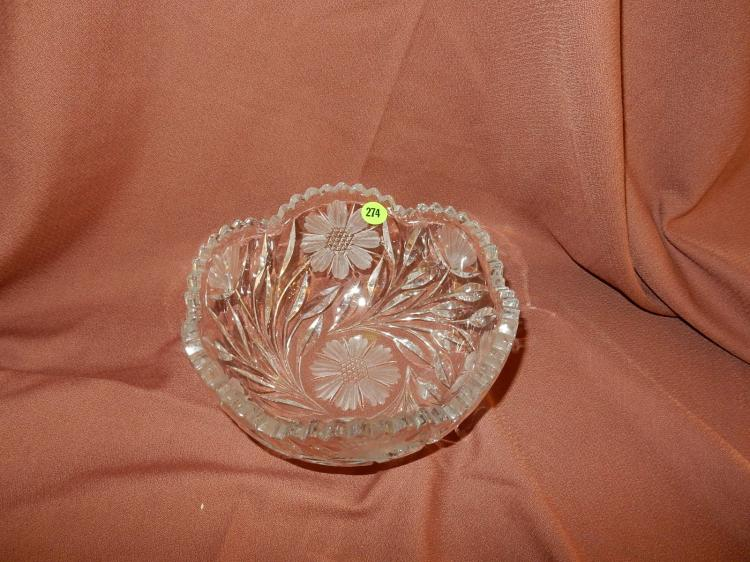 Nice vintage, etched, heavy cut crystal bowl, floral design, COND VG