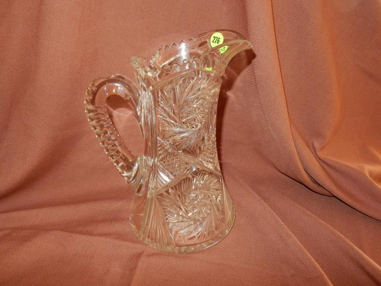 Nice heavy cut crystal pitcher, pinwheel design, COND VG