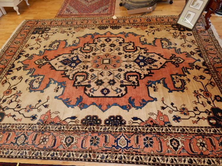 14) Lovely hand tied 100% wool, Persian room size rug, Arts & Crafts style, COND VG-used condition