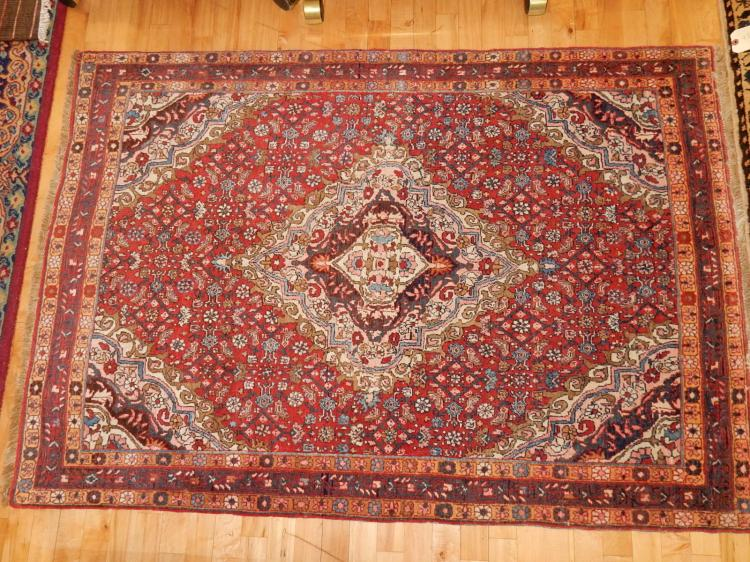 2) Lovely hand tied 100% wool, Persian rug, very busy design with center medallion, COND VG-used condition
