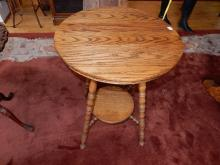 2) Antique American oak round parlor table, professionally refinished, top has slight bow. Special shipping required*