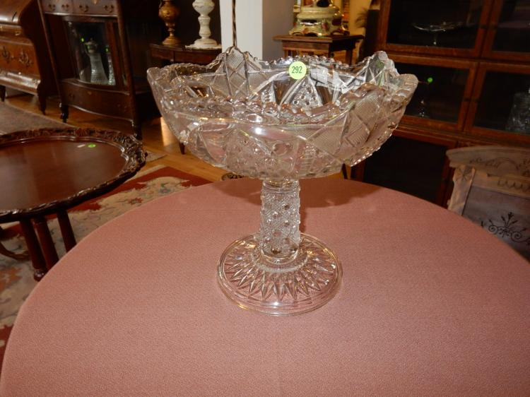 Nice cut crystal compote, unique design, COND VG