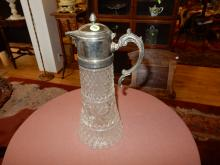 Vintage silver plate & pressed glass wine pitcher, COND VG