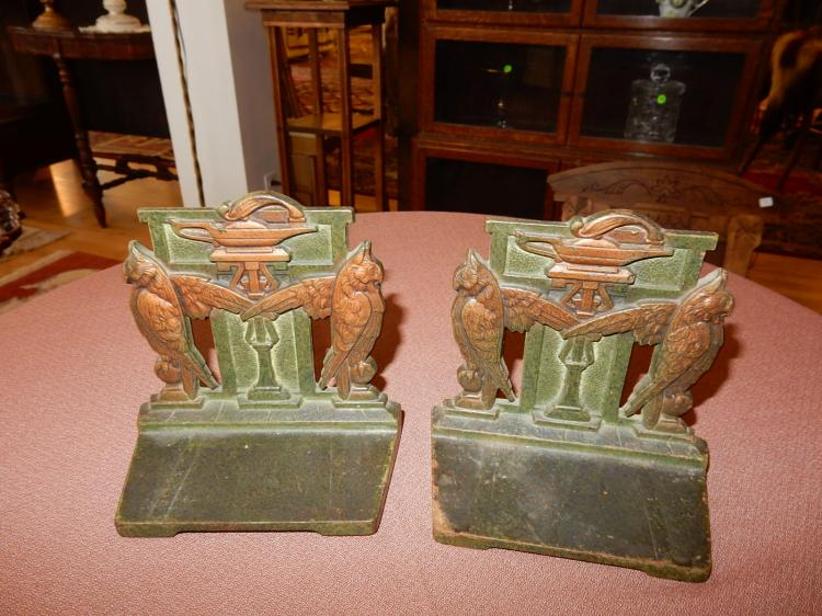 Lovely two piece art deco bronze painted bookends, bird & urn design