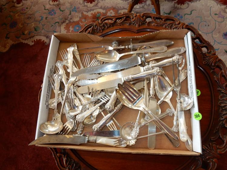 Box of vintage silver plated flatware, etc.