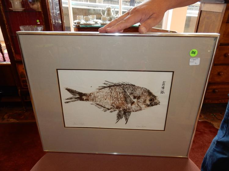 2) Unique framed Gyotaku(Japanese fish rubbing) by Lori Hatch, titled