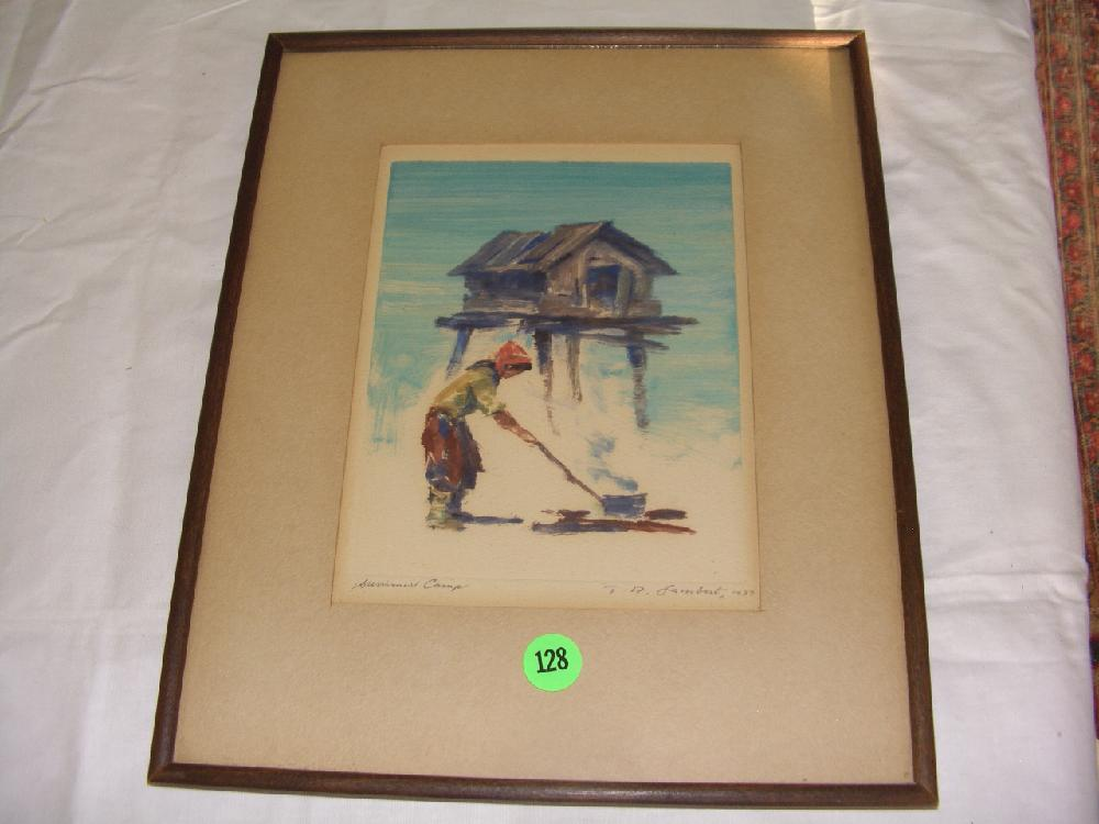 Theodore Lambert, (American, 1905-1960), summer camp, original framed artwork, watercolor