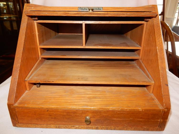 Antique American Oak Globe Wernicke Table Top File Box