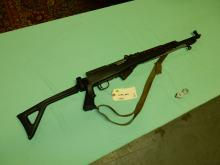 Original Military rifle, SKS style, stamped Iaco Sac Ca, with folding stock and fixed bayonet, SN# 11521, FFL paperwork and $25. fee please see lot 401A