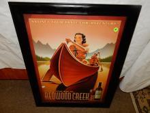 Framed Redwood Creek Wine advertiser, age?