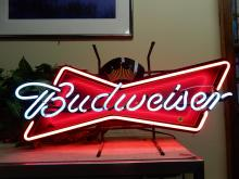 Advertising neon Budweiser lighted bar sign, works great. Cannot ship