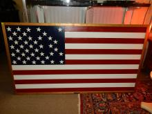 Large custom made and painted all wood American Flag, titled