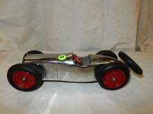 Antique / vintage nickel / chrome toy metal race car, wheels marked K S Co., rubber marked Vulco Balloon Cord