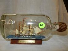 Unique ship in glass bottle display