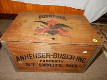 Anheuser-Busch Inc. Budweiser wooden beer crate, with bottle cap checker board lid