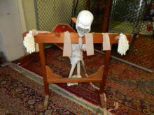 Homemade halloween Pillory with plastic skeleton, great for man cave / halloween prop, special shipping req