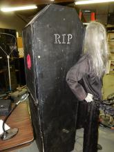Unique homemade coffin costume, has holes in sides for arms, you get inside, lift you to walk, great for man cave / halloween prop, special shipping req