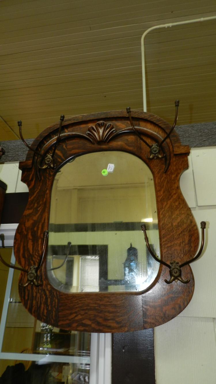 3 Nice American Oak Antique Wall Mirror Hat Rack Special S