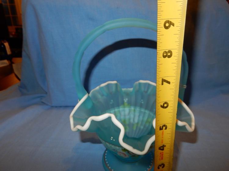 Glass Intelligent Fenton Glass Hand Painted Basket Signed Original Estate Liquidation Fenton