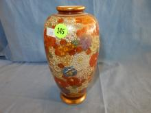 Lovely Asian hand painted vase, signed on base. COND VG