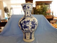 Nice large Asian porcelain blue & white vase, marked on base by maker, depicting warriors. COND VG