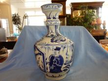 Nice large Asian porcelain blue & white vase, marked on base by maker, depicting man & trees. COND VG
