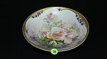 antique hand painted porcelain rose bowl cond VG 2 1/8 x 9 1/2