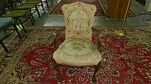 unique carved antique, French? (style) bird / Eagle heads arm chair, with needlepoint seat and back rest, carved ball & claw legs, cond G, back cover needs redone, SSR = special shipping required