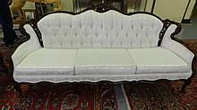 nice vintage carved cream sofa, cond G, minor scuffing to the legs, cover VG, frame VG, SSR