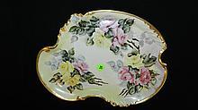 antique Limoges porcelain painted tray floral design, cond VG 9 1/2 x 12 1/2
