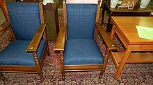 wonderful antique oak lodge arm chair, cond VG, seats and backs redone, SSR matches next lots thru #38 (each sold separately)
