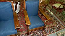 wonderful antique oak lodge arm chair, cond VG, seats and backs redone, SSR (each sold separately)