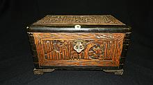 vintage carved Asian camphor wood chest / document box, cond G only missing small locking & shows wear piece 8 x 13 1/2 x 9