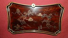 vintage Asian wood painted tray with mountain and people scene, 1/2 x 12 x 7 cond VG