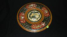 unique Korean mother of pearl inlay tray / platter with Dragon & Floral scene, cond VG 13