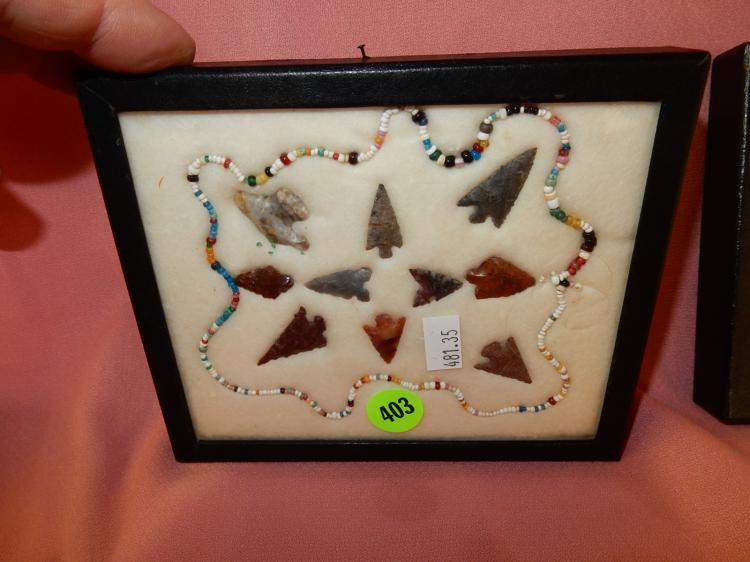35) Nice collection of Native American handmade arrowheads in showcase, from Columbia River