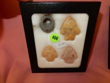 34) Nice collection of Native American handmade arrowheads in showcase, from Ocala FL.