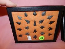 51) Nice collection of Native American handmade arrowheads in showcase, from Williamette Valley Oregon