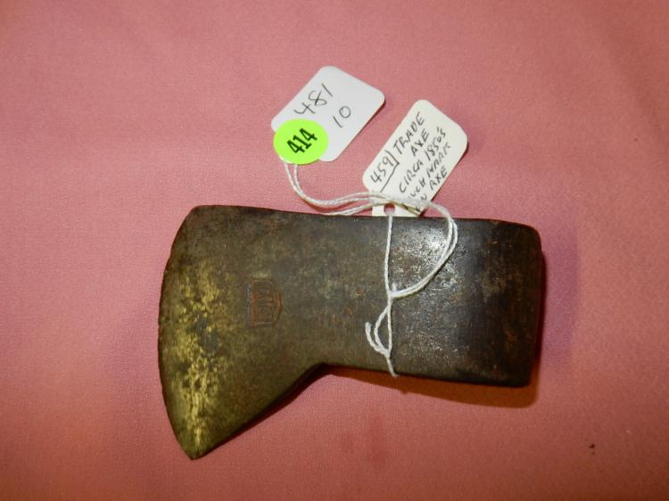 10) Nice Antique Native American trade axe, marked on blade