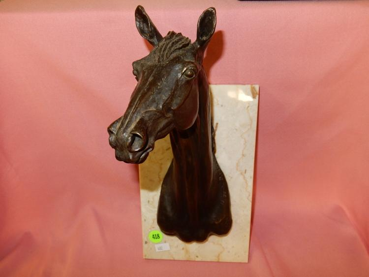 Nice bronze horse head sculpture on marble base (wall hanger) stamped PIH, by D, Vance