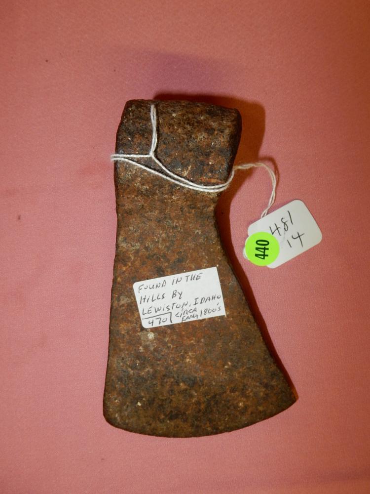 14) Antique Native American trade axe, found in Lewiston, Idaho