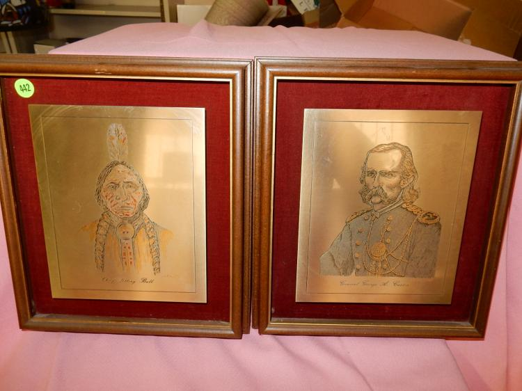2 piece limited edition Damascene insculpture of Sitting Bull and Custer, hand crafted by Reed & Barton pure silver