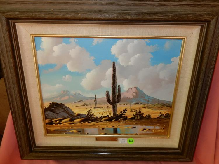 Vibrant oil painting on canvas, AZ desert scene, signed Sherman, estate paid $300
