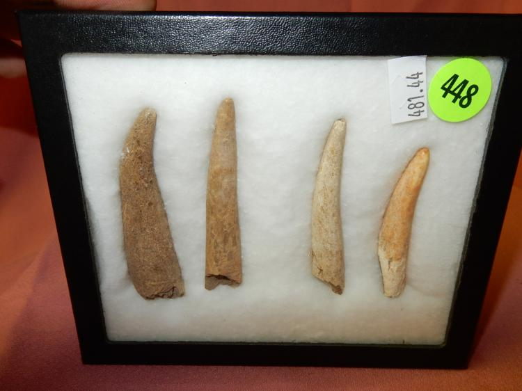 44) ) Nice collection of Native American handmade antler tines used for chipping of arrowheads, Smokey MT Tennessee, in case