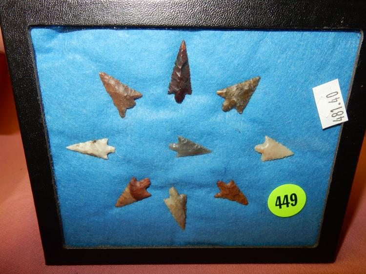 40) Nice collection of Native American handmade arrowheads from The Dalles Oregon, in case