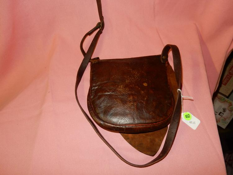 65) Antique American leather pouch, ammo-etc
