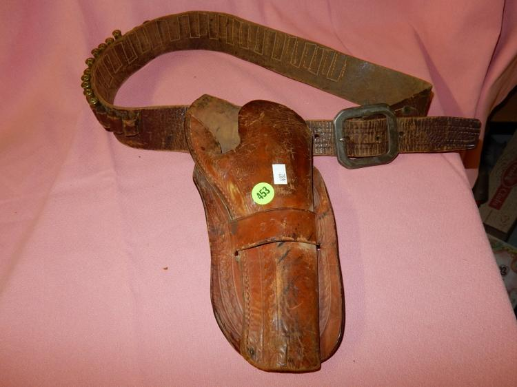 Antique leather western pistol holster, with bullet slots (no bullets) stamped RMP