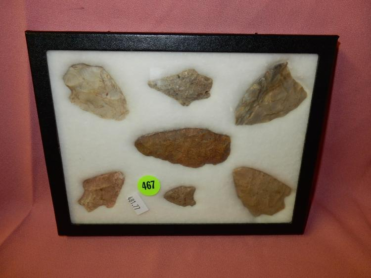 ) Nice collection of Native American handmade arrowheads & spearheads, in case,