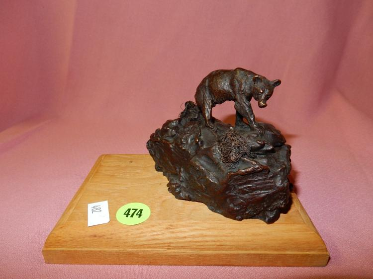 Nice bronze bear on rock sculpture, signed and numbered