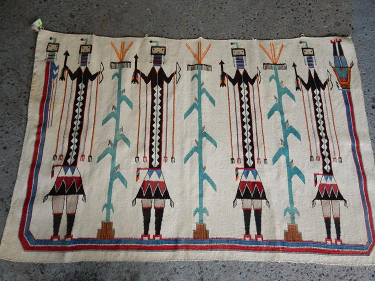 Native American hand woven Navajo rug with Kachina figures